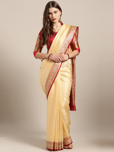 Chhabra 555 Gold Red Ombre Crepe Silk saree with Zari Floral weaving and jhalar