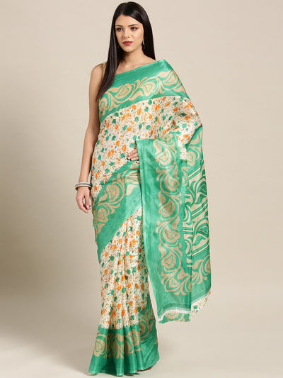 Chhabra 555 Beige Teal Printed Bhagalpuri Saree with Multicolor Floral and Paisley motifs