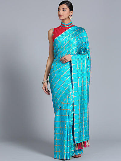 Chhabra 555 Blue Checkered Gharchola style Silk Saree with Peacock motif Embroidered Blouse