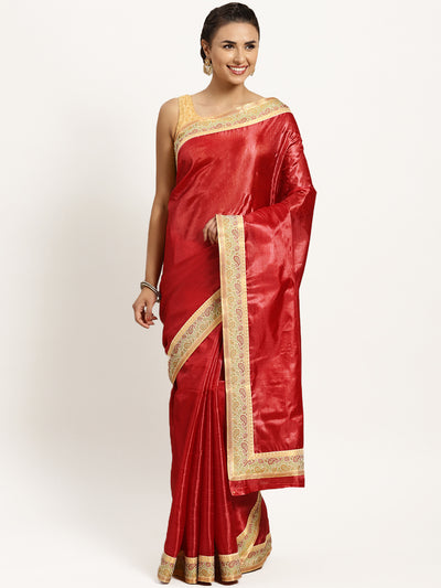 Chhabra 555 Red Tussar Silk Banarasi saree with meenakari pattern border