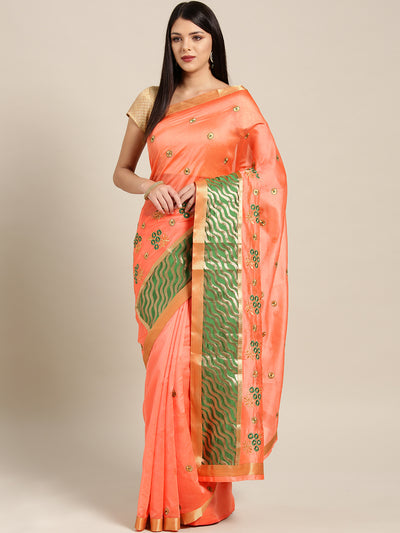 Chhabra 555 Peach Green Panelled saree with Resham Embroidered Floral Motifs