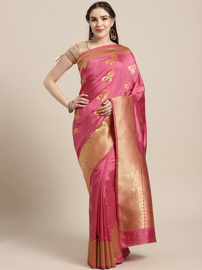 Chhabra 555 Kanjiwaram inspired silk saree with Meenakari weaving in a floral pattern and broad Zari border