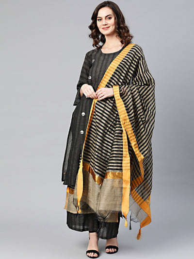 Chhabra 555 Made to Measure Black Kurta Pallazo Set With Stylized front buttons, Cotton Silk Striped Dupatta and Pallazo