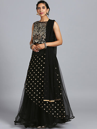 Chhabra 555 Black Net Cutdana Hand Embroidered Stitched Lehenga Choli With Net Dupatta