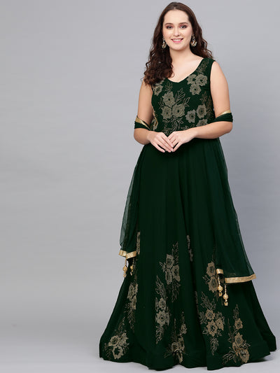 Chhabra 555 Georgette Cocktail Gown with Stylish Crystal bead embellishments and tassled dupatta