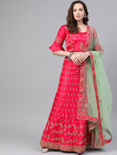 Chhabra 555 Pink Green Silk Semi-stitched Lehenga set with Intricate zari embroidery in floral motifs