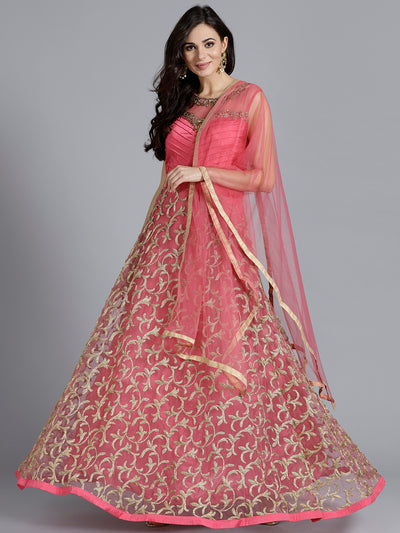 Chhabra 555 Pink Embellished Silk Gown with heavy beautiful Zircon, hand work with Dupatta