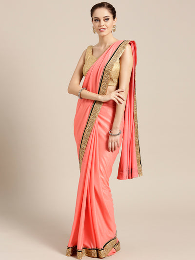 Chhabra 555 Peach Stretch georgette Saree with Pearl and Crystal Embellished border
