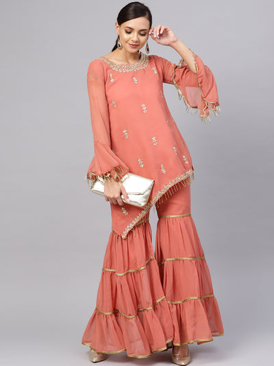 Chhabra 555 Made to Measure Peach Kurta Sharara Set with Floral Zari Kundan Embroidery