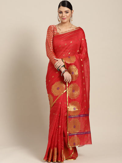 Chhabra 555 Red Chanderi Silk saree with Zari and Meenakari weaving in a floral pattern