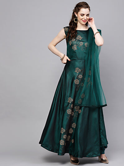 Chhabra 555 Green Silk Made-to-Measure Kurta Set with Crystal Emellshments in Floral pattern