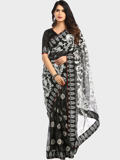 Chhabra 555 Black Half-and-Half Net Saree With Resham Paisley Embroidery