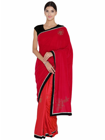 Chhabra 555 Red & Pink Velvet Swarowski Work Party Wear Saree