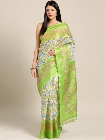 Chhabra 555 Beige Green Printed Bhagalpuri Saree with Multicolor Floral and Paisley motifs
