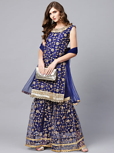 Chhabra 555 Made to Measure Blue Zari Embroidered Kurta Sharara Set with Pearl and Mirror Embellishments