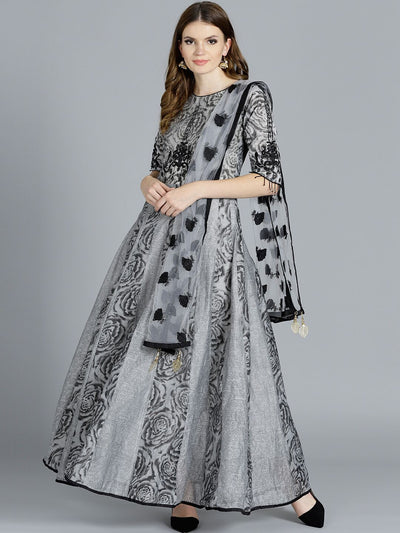 Chhabra 555 Grey Floral Print Kurta with Black Resham Embroidered Dupatta