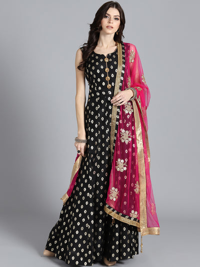 Chhabra 555 Black & Pink Banarasi Foil Print Embellished Stitched Anarkali Kurta Set With Heavy Net Dupatta