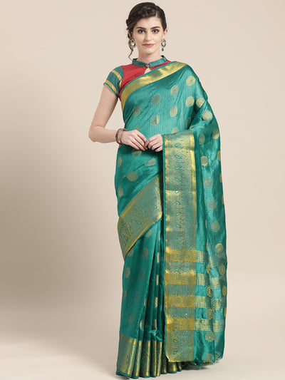 Chhabra 555 Kanjiwaram inspired silk embellished saree with Meenakari weaving and broad Zari border