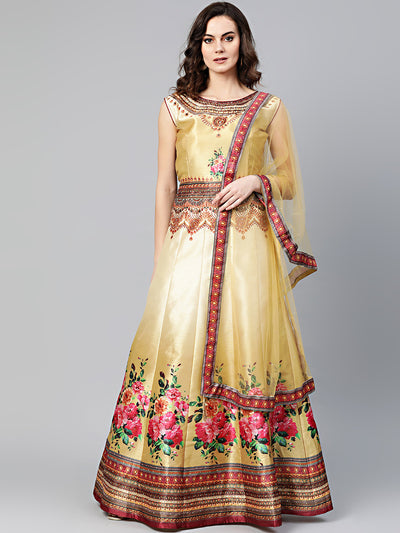 Chhabra 555 Beige Anarkali Kurta Gown with Crystal Embellishments and Digital Print Floral tribal pattern