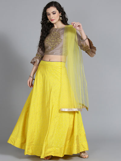 Chhabra 555 Grey and Yellow Silk Embroidered Croptop Lehenga With Mirror Embroidery and Thread emroidery front on choli and Dupatta and stylish Sleaves