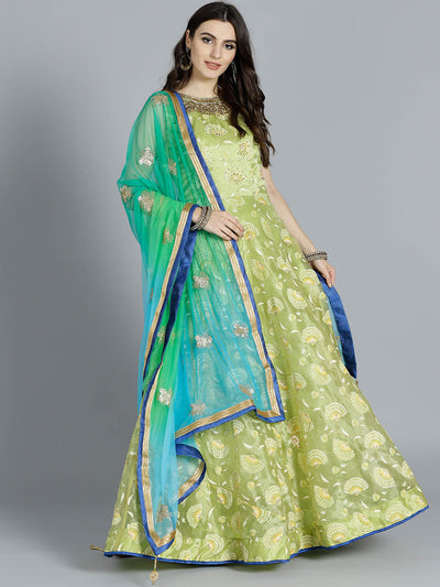 Chhabra 555 Leaf Green Tissue Foil Printed Kurta with floral motifs and contrast zari embroidered Blue Dupatta