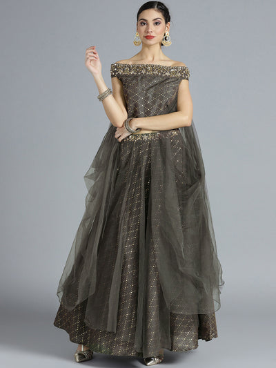 Chhabra 555 Silk Net Made-to-Measure Lehenga with off shoulder blouse, Foil Print and bell sleeves