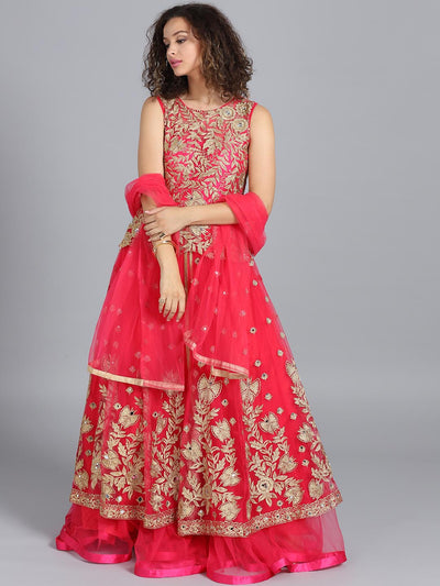 Chhabra 555 Pink Net Heavy Embroidered Mirror Work Stitched Gown With Net Dupatta