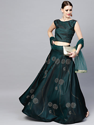 Chhabra 555 Made to Measure Green Silk Croptop Lehenga with Floral Foil Print and Embllishments