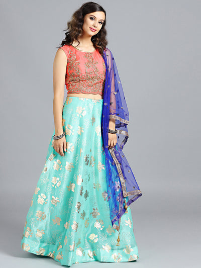 Chhabra 555 Sea Green & Orange Foil Printed Tissue Hand Embroidered Stitched Lehenga Choli With Heavy Net Dupatta