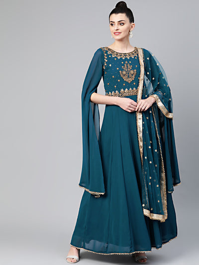 Chhabra 555 Made to Measure Georgette Anarkali Cocktail Gown with Aari, Kundan, Cutdana embroidery, Batwing Sleeves and sequin embroidered dupatta