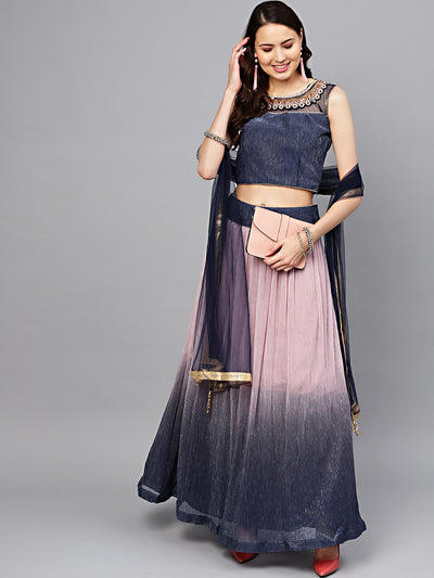 Chhabra 555 Made-to-Measure Shimmer Blue Ombre Lehenga Set with Kundan Embellished neckline