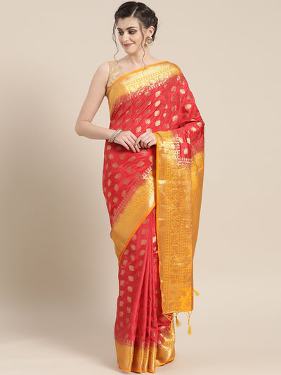 Chhabra 555 Mysore Silk saree with Lotus Design Ethnic weaving and contrast heavy zari blouse