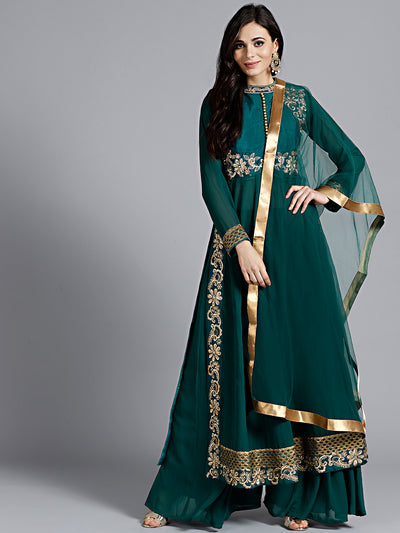 Chhabra 555 Mughal style kurta set with zari, resham and zircon embroidery