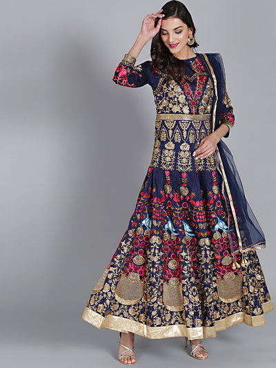 Chhabra 555 Blue Embroidered and Resham and Zari Embroidery Anarkali type Silk Kurta with Dupatta