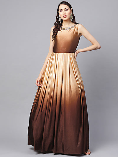 Chhabra 555 Made to Measure Satin floor length Cocktail Gown with Ombre Brown shimmer and kundan embellished neckline