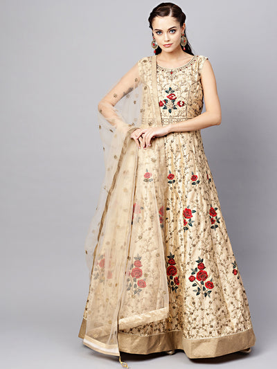 Chhabra 555 Beige Anarkali Silk Gown with Zari Sequin Embroidered Floral pattern and dupatta