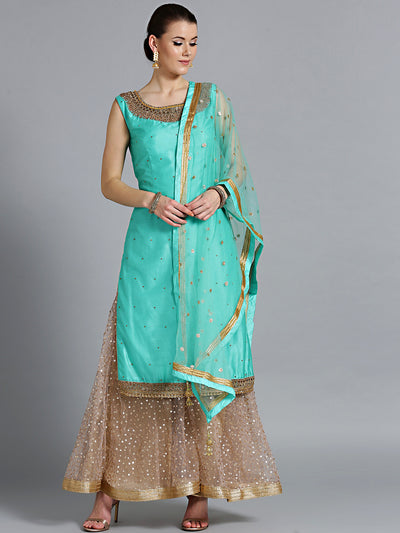 Chhabra 555 Made-to-Measure Turquoise jewelled neckline kurta with embroidered pallazo and dupatta