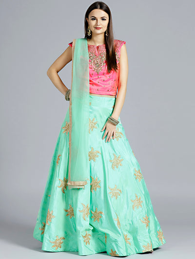 Chhabra 555 Sea green Raw Silk Gota Patti Lehenga with contrast Kundan and Zircon Hand Embroidered Pink colored Blouse
