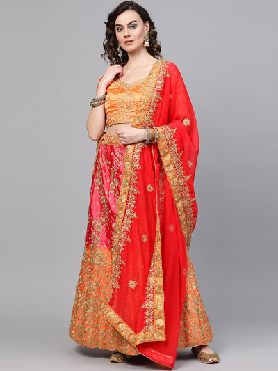 Chhabra 555 Ombre Semi-stitched Lehenga set with Floral Zari embroidery and Crystal embellishments