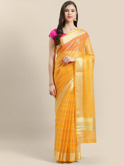 Chhabra 555 Chanderi Silk Kota saree with intricate Zari weaving in a striped pattern