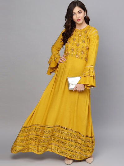 Chhabra 555 Made to Measure Anarkali Printed Kurta Dress with Bell sleeves and Mirror embellishments