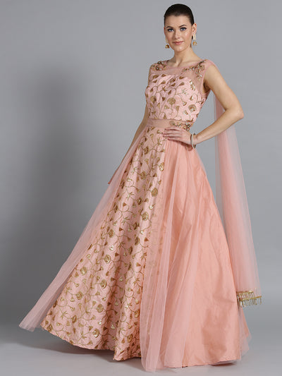 Chhabra 555 Made-to-Measure Peach Embellished Gown with Sequin Zari embroidery & Attached Dupatta