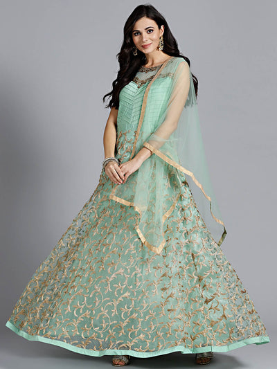 Chhabra 555 Green Embellished Silk Gown with heavy beautiful Zircon, hand work and Nakshi Work with Dupatta