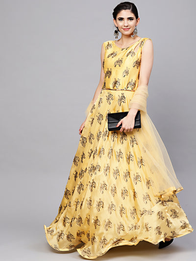 Chhabra 555 Yellow Embellished Animal Print Dress with Belt, Dupatta and Cut-out keyhole pattern