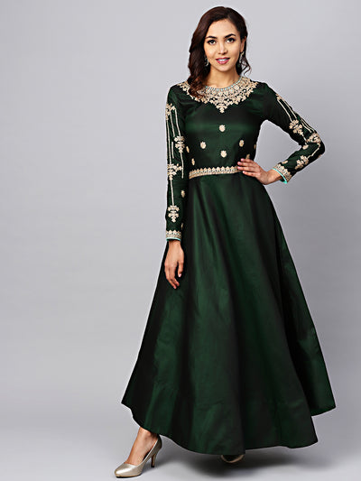 Chhabra 555 Made-to-Measure Green Embellished Gown with Zari and Resham jeweled pattern neckline