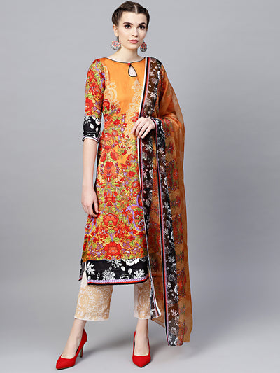 Chhabra 555 Mustard beige Floral Printed Crepe Made-to-Measure Kurta Set with Chiffon Dupatta