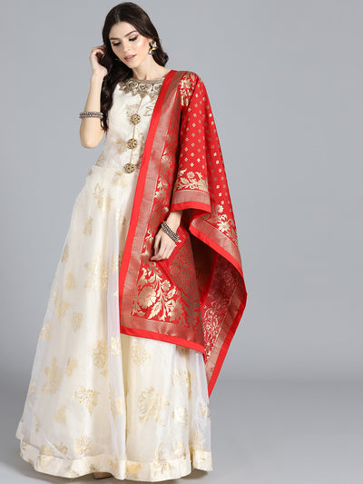 Chhabra 555 OffWhite & Red Tissue Foil Print Hand Embroidered Stitched Anarkali Kurta Set With Heavy Banarasi Dupatta