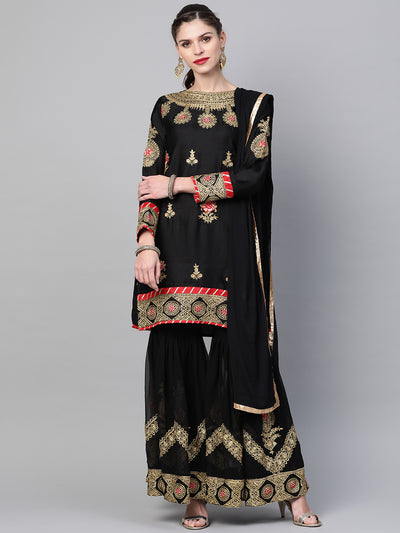 Chhabra 555 Made to Measure  Embellished Black Kurta Sharara Set With Zari, Resham embroidery