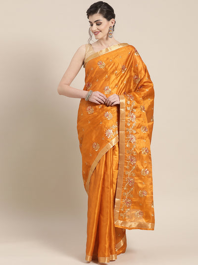 Chhabra 555 Tussar silk saree with traditional Floral Zari motifs and Lotus Embroidery Zari border