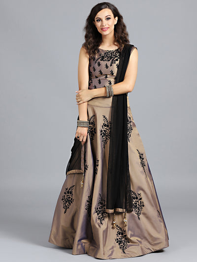 Chhabra 555 Beige & Black Art Silk Thread & Swarovski Worked Stitched Lehenga Choli With Net Dupatta